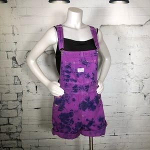 Levi's Tie Dye Overalls Shorts Purple Shortalls